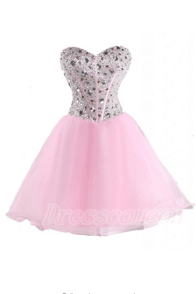 2016 Pretty Pink Homecoming Dresses,Back Up Lace Homecoming Dresses,Cute Graduation Dresses,Sweetheart Cocktail Dresses For Teens