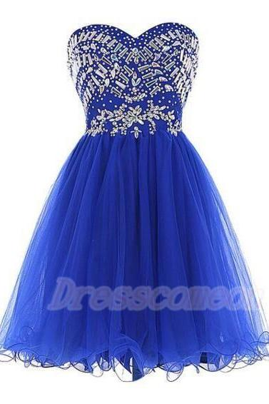 2016 Sweetheart Royal Blue Homecoming Dresses,Cute Beading Cocktail Dresses,Pretty Graduation Dresses For Teens