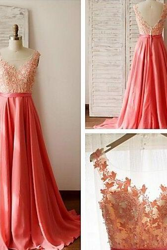 Custom Made Long Lace Prom Dresses,Watermelon V-neck Evening Dresses, Chiffon Prom Dress, Prom Gowns,Backless Party Prom Dresses For Teens