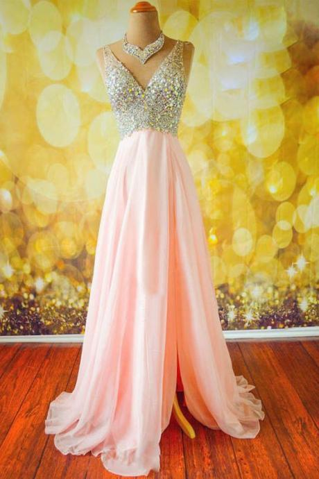 Top Selling Long Pink Prom Dresses,Beading Prom Dresses,V-neck Prom Dresses ,Modest Prom Dress,Evening Dresses