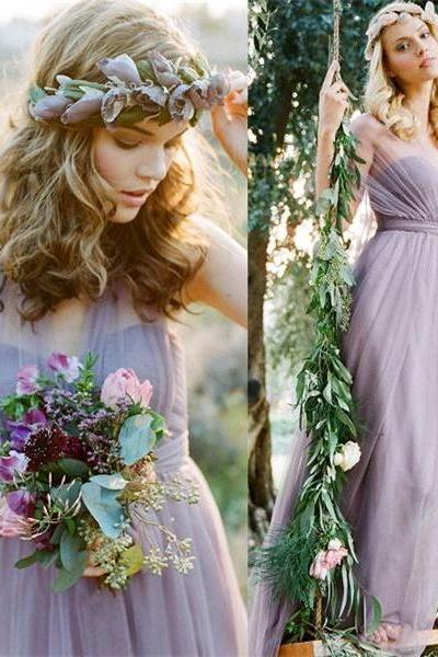 Pretty Elegant Long Chiffon Bridesmaid Dresses,High Low Bridesmaid Gowns,Simple Bridesmaids Dresses