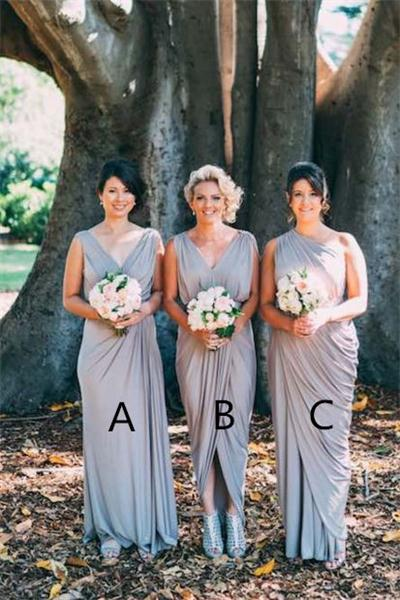 Handmade Long Grey Bridesmaid Dresses,Simple Cheap Bridesmaid Gowns,Pretty Bridesmaids Dress For Wedding