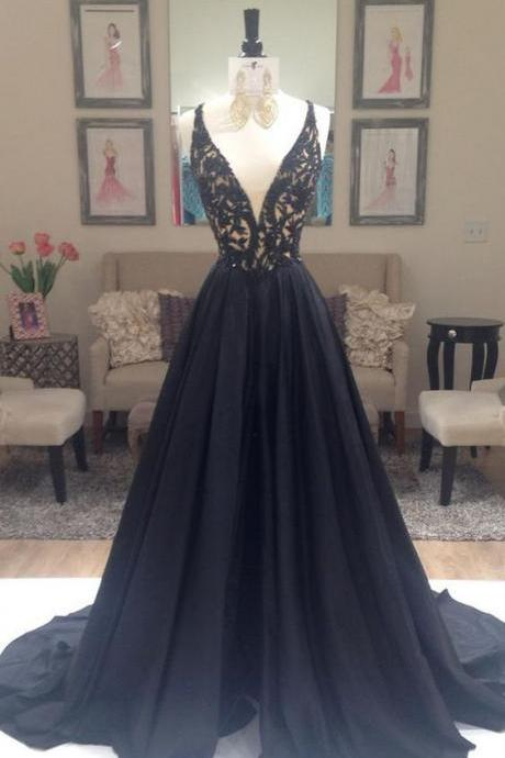 2016 Deep V-neck Lace Long Prom Dresses,Black A-line Prom Dresses,Modest Prom Dresses,Sparkly Prom Gowns