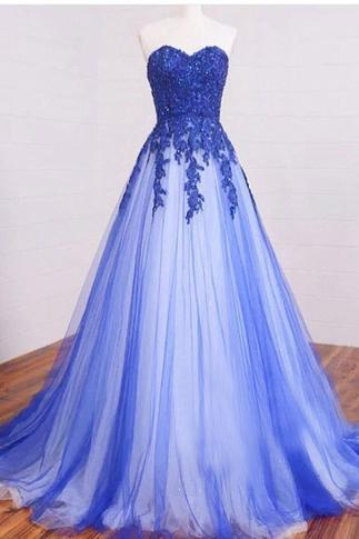Long Sweetheart Lace Royal Blue Prom Dresses,Lace Up High Low Elegant Prom Dress,Modest Prom Gowns