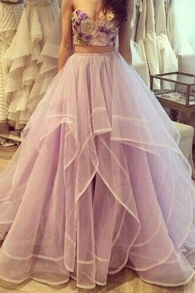 Pretty Elegant Handmade Ball Gowns Two Pieces Sweetheart Printed Prom Dresses For Teens