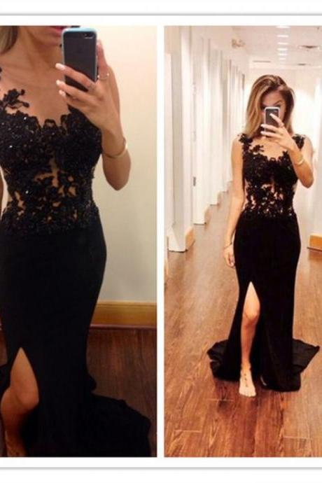 Sexy Black Handmade Beaded Lace Front Split Long Prom Dresses,Charming Prom Gowns
