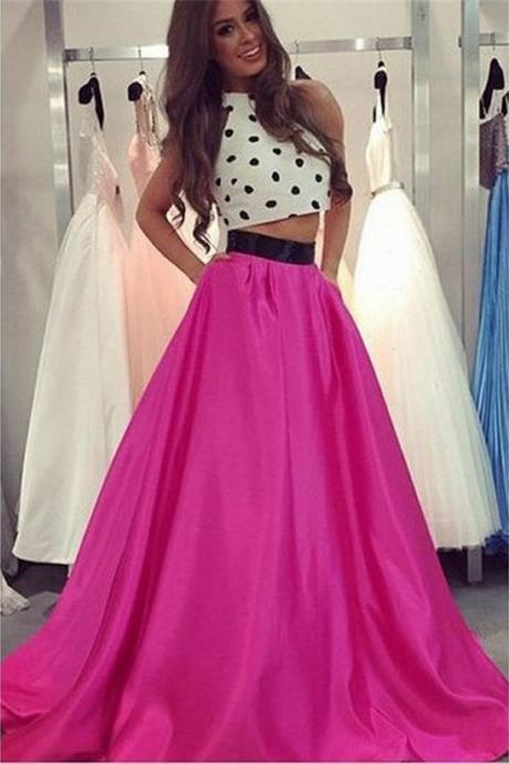 Polka Dot Halter 2 pieces Prom Dresses,Beautiful Long Prom Dress,Simple Cheap Prom Gowns,Modest Evening Dresses
