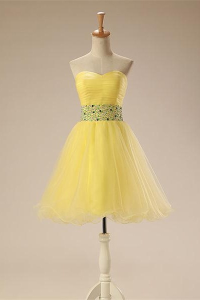 Sweethaert Beading Short Cute Homecoming Dresses.Girly Homecoming Dresses,Simplr Graduation Dresses
