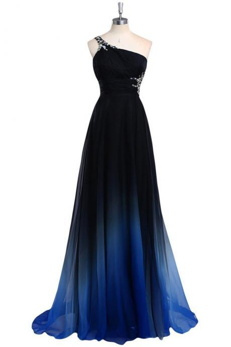 Top Selling Ombre Chiffon Prom Dresses,One Shoulder Long Beaded Prom Dress,Pretty Prom Gowns DR0440