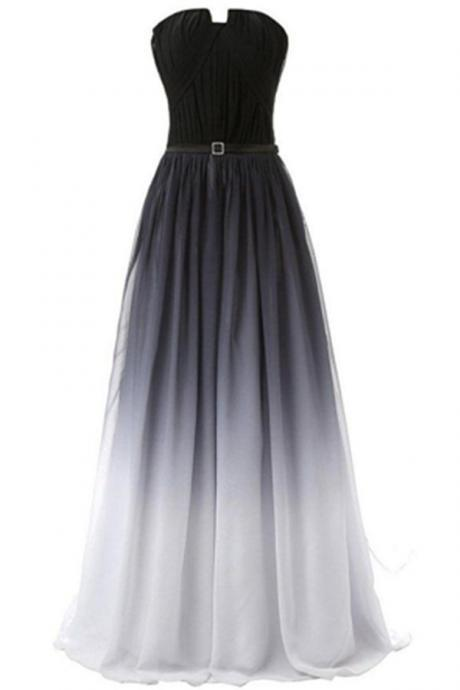 Charming Handmade Strapless Long Graduation Chiffon Prom Dresses,Prom Gowns,Prom Dress For Teens