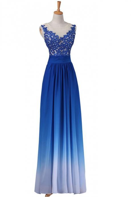Beautiful Royal Blue Handmade Lace Long Prom Dresses,A-line High Low Prom Dress,Pretty Prom Gowns DR0479