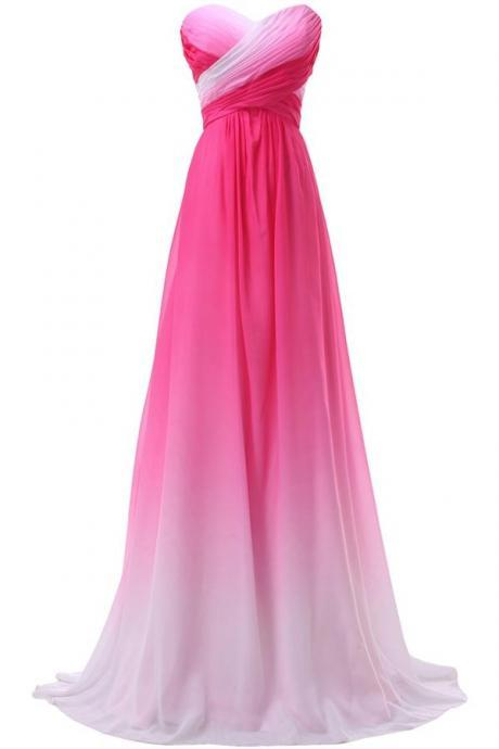 Pretty Pink Sweetheart Long Gradient Chiffon Prom Dresses,Elegant Prom Gowns