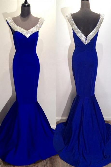Off Shoulder Pretty Royal Blue rom Dresses,Long Party Dresses,Mermaid Formal Evening Dresses