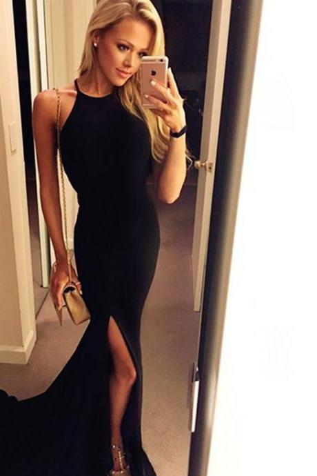 Sexy Black Long Prom Dresses,Fron Split Prom Gowns,Sexy Evening Dresses,2016 Prom Gowns,Pretty Evening Gowns