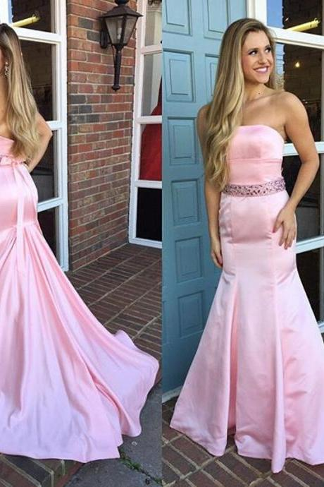 Pink Sweetheart Prom Gowns, Long Prom Dresses,Cute Open Back Prom Gowns,Satin Prom Dress For Girls