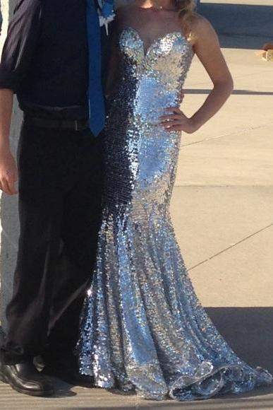 Real Made Strapless Sequin Shiny Long Mermaid Prom Dresses,Pretty Prom Gowns,Sparkly Prom Dress For Teens