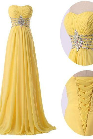 Lace Up Long Chiffon Prom Dresses,Yellow Strapless Prom Gowns,Handmade Evening Gowns,Beading Prom Dress