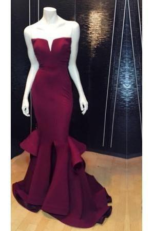 Burgundy Satin Strapless Floor Length Ruffled Accent Mermaid Prom Dress