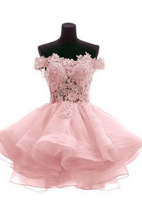 Cute Off Shoulder Pink Homecoming Dresses,Elegant Cocktail Dresses,Homecoming Dress 2016