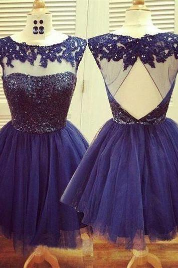 Blue Lace Beading Homecoming Dresses,Tulle homecoming Dresses,Handmade Backless Short Prom Dresses