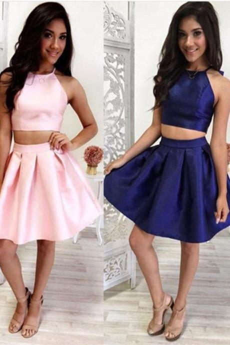 Simple Two Pieces Homecoming Dresses,High Quality Short Homecoming Dress,Handmade Cheap Prom Dresses,Party Dresses