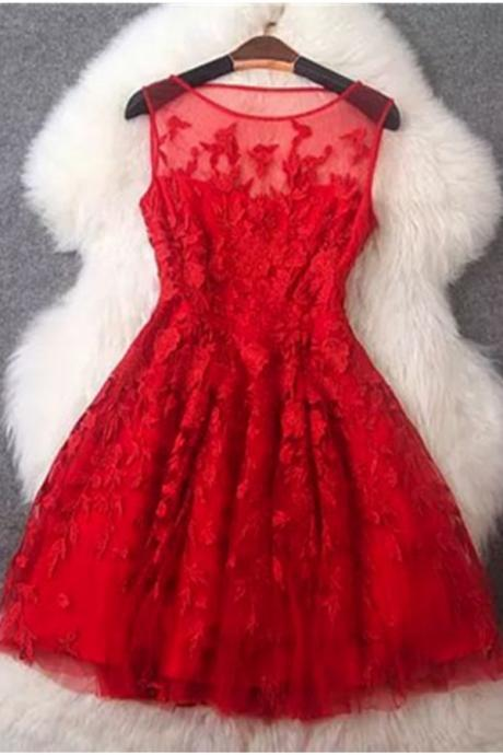 Charming Light Red Lace Short Homecoming Dresses,Sparkly Cocktail Dresses,Short Prom Dresses