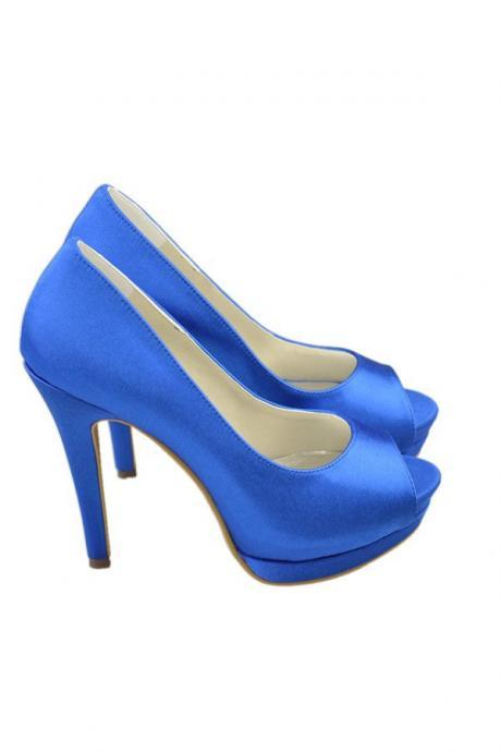 Saprkly Royal Blue Satin Simple Handmade Elegant Cheap Prom Shoes,Wedding Shoes,Bridesmaid Shoes