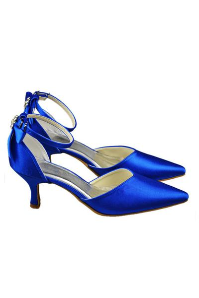 Beautiful Royal Blue Ankle Strap Wedding Shoes With Bow,Classy Women Shoes