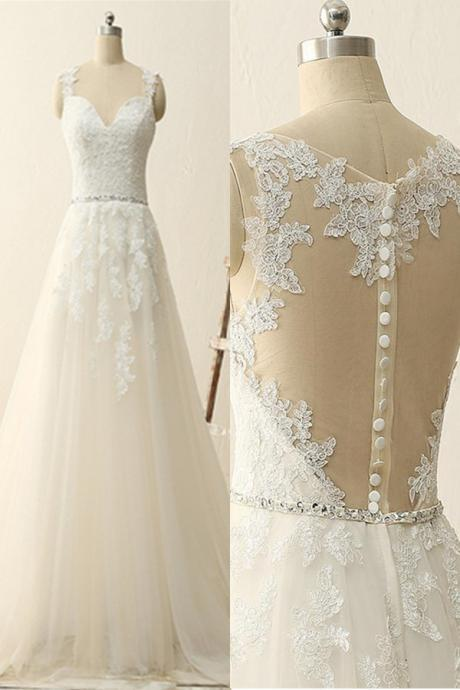Close Back Lace Tulle Handmade Wedding Dreses,Elegant A-line Wedding Gowns,Pretty Bridal Gowns