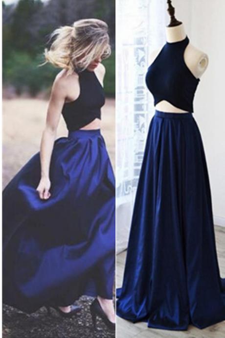 Real Beautiful Royal Blue Prom Dresses,Charming Prom Dress For Teens,Two Pieces Simple Cheap Prom Gowns,A-line Party Prom Dresses