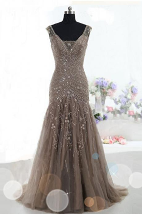 Mermaid Lace Up Prom Dresses,Brown Tulle Prom Gowns,Modest Beading Prom Dresses,V-neck Party Dresses,Quinceanera Dresses,Graduation Dresses