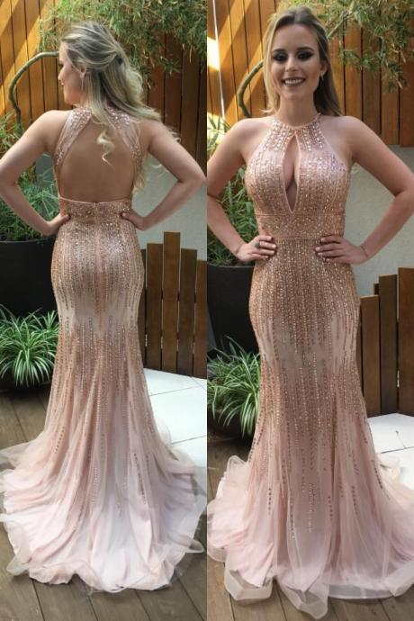 Real Nice Beaded Prom Dresses,Sequin Shiny Modest Prom Gowns,Long mermaid Prom Dress For Teens,Party Dresses