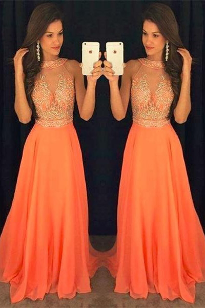 Sparkly Orange Chiffon Prom Dresses,Halter Beading Prom Gowns,Women Dresses,Evening Dresses,Long Prom Dresses For Teens