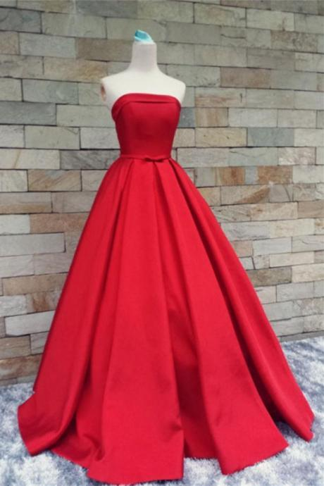 Red Satin Prom Dresses,Strapless Long Prom Gowns,Evening Gowns,Handmade Party Prom Dresses,Modest Prom Gowns