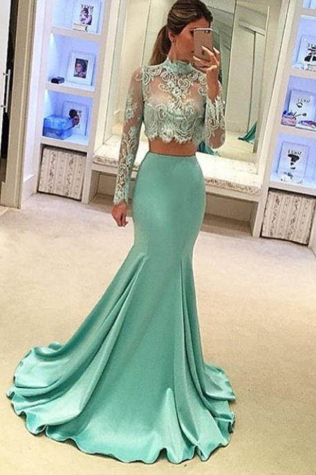 High Neckline Long Mermaid Prom Dresses,Long Sleeves Two Pieces Prom Gowns,Evening Dresses,Party Dresses,Women Dresses