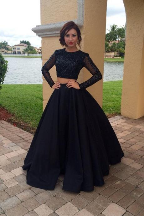 Long Sleeves Black Two Pieces Prom Dresses For Teens,Modest Prom Gowns,Charming Evening Dresses,Women Dresses,Plus Size Prom Dress,Party Dresses DR0401