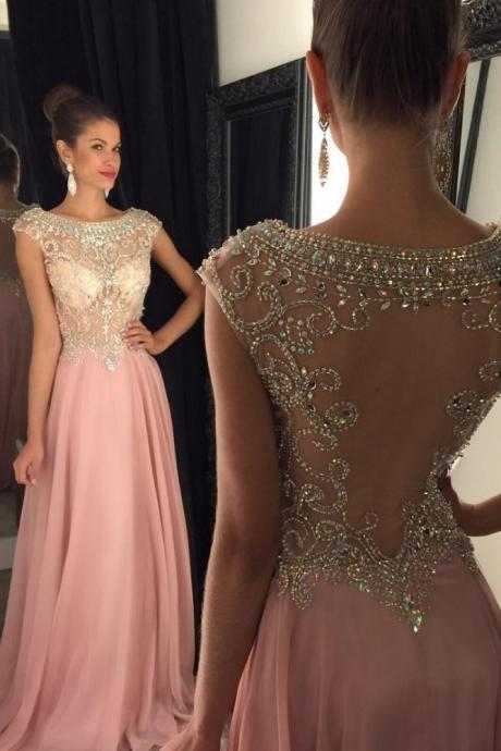 Boat Neckline Cap Sleeves Prom Dresses,Long Beading Prom Dress,Modest Evening Dresses,Girly Party Dresses,Sparkly Evening Gowns