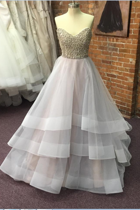 2017 Lace Up Sweetheart A-line Prom Dresses For Teens,Beaded Evening Dresses,High Low Prom Gowns,Modest Party Dresses,Cute Dresses