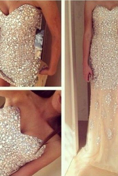 Sparkly Prom Dresses,Long Prom Dresses,Strapless Prom Dresses,Modest Prom Dresses,Seqyin Shiny Prom Dress,Evening Dresses,Party Dresses