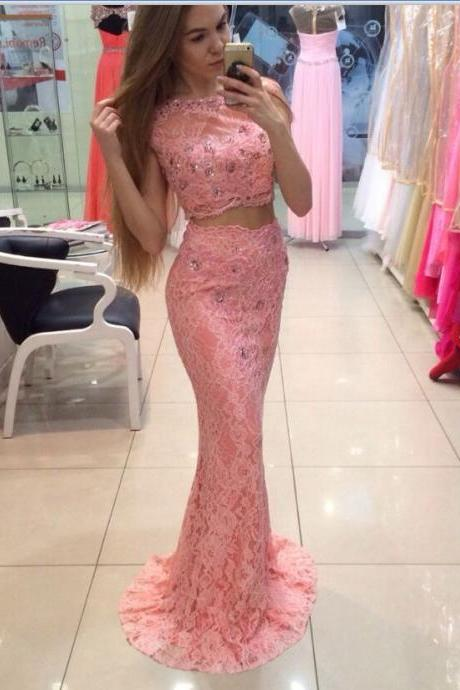 Pink Prom Dress,Two Pieces Prom Dresses,Mermaid Prom Dresses,Lace Prom Dress,Evening Dresses,Cute Dresses,Long Prom Dresses For Teens