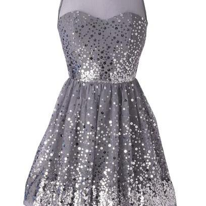 Custom Made Silver Sequin Sleeveless Illusion Neckline A-Line Homecoming Dress, Graduation Dress