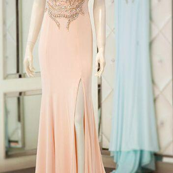 New Arrival Sequins Chiffon Backless Prom Dresses,Real Made Floor-Length Prom Dresses, Beading Prom Dresses, A-Line Prom Dresses, Charming Sleeveless Evening Dresses,