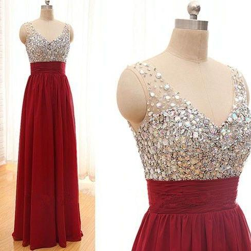New Arrival Sequins Chiffon Prom Dresses,V-Neck Real Made Floor-Length Prom Dresses, Beading Prom Dresses, A-Line Prom Dresses, Charming Sleeveless Evening Dresses,