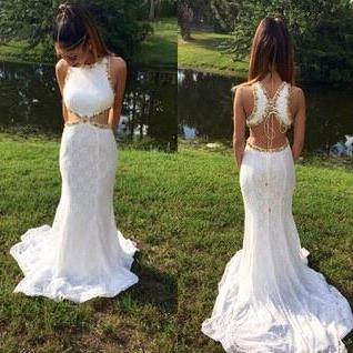New Arrival Lace Prom Dresses, Real Made Floor-Length Prom Dresses, White and Gold Prom Dresses, A-Line Prom Dresses, Charming Sleeveless Evening Dresses,
