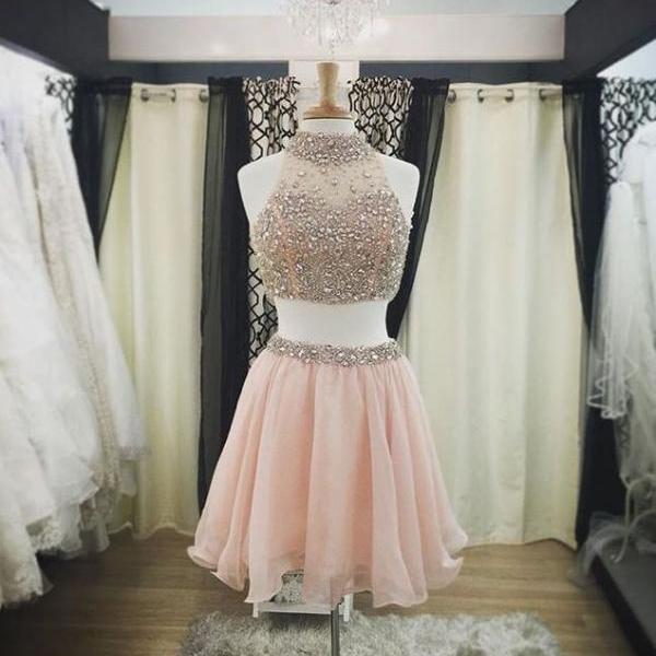 Pretty Two Pieces Pink Homecoming Dresses For Teens,Halter Beading Cocktail Dresses,Beautiful Graduation Dress