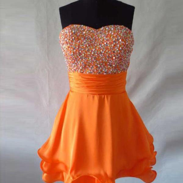 New Arrival Orange Chiffon Homecoming Dresses,Cute Cocktail Dresses,Simple Cheap Graduation Dresses For Teens