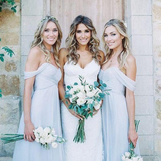 2016 Elegant Baby Blue Long Bridesmaid Dresses,Off Shoulder Chiffon Bridesmaid Gowns