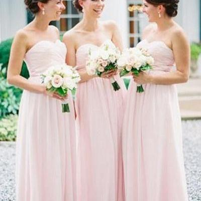 Modest Sweetheart Long Chiffon Bridesmaid Dresses,Pink Bridesmaid Gowns For Wedding