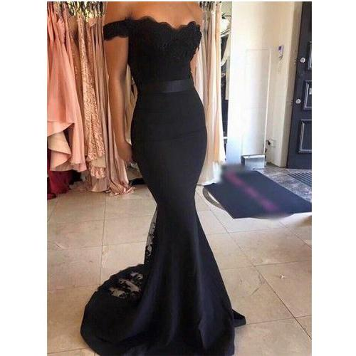 Black Off Shoulder Long Lace Prom Dresses,Mermaid Sexy Prom Gowns,Evening Gowns,Pretty Party Gowns