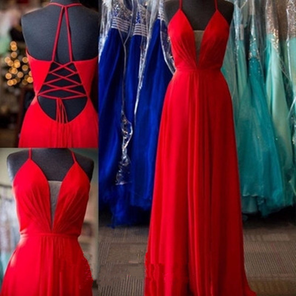 Simple Light Red V-neck Prom Dresses,Charming Long Prom Gowns,Backless Evening Gowns,Handmade Party Dresses